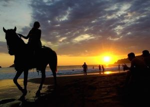 Horseback riding at sunset on the beach at Costa Rica