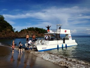 Dive Boat on the beach in Cosrta Rica