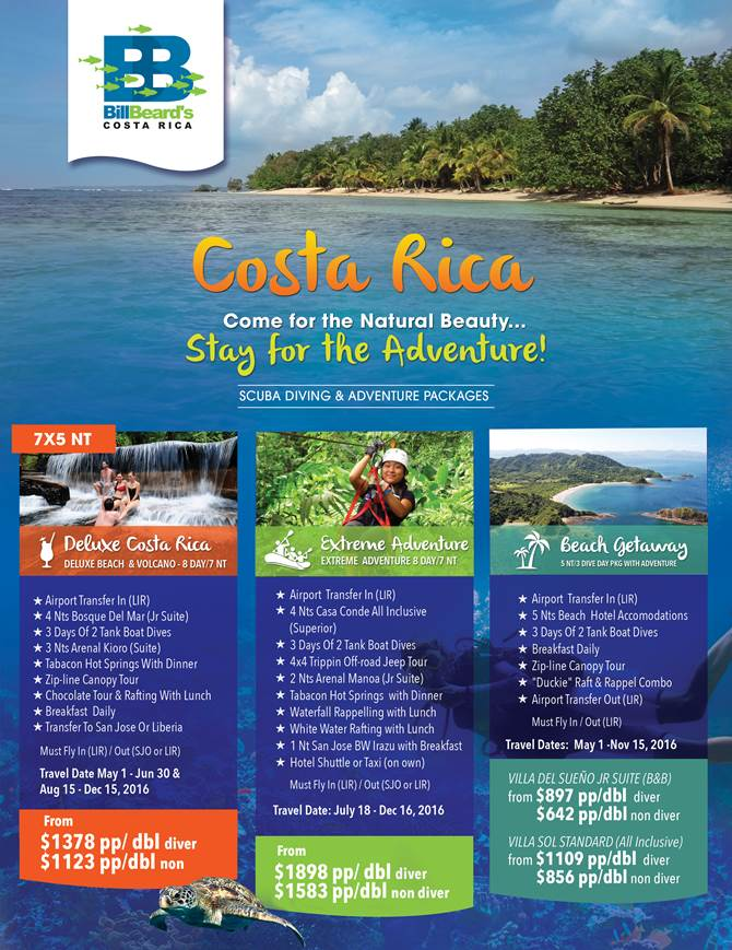 Costa Rica Scuba Diving & Adventure specials