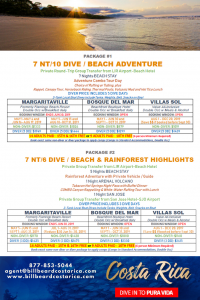 2019 Costa Rica scuba diving & adventure vacation packages with Bill Beard's